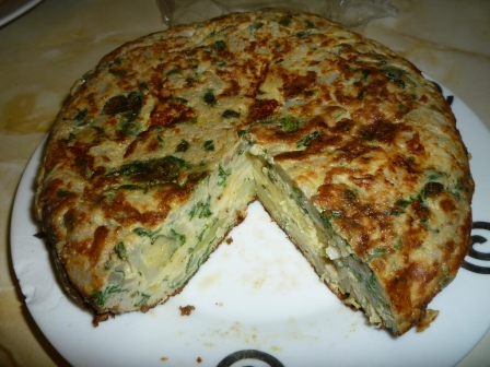 Cooking, Eating. Eating Cooking  - Potato omelette with spinach